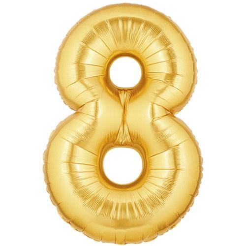 Große Folienballon Zahl 8 (gold) - 101cm