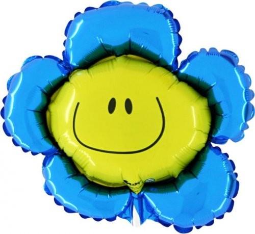 Mini Folienballon Blumen mit Gesicht blau - 35cm