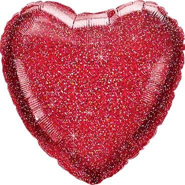 Folienballon Herz Glittergraphic Red (rot) - 45 cm