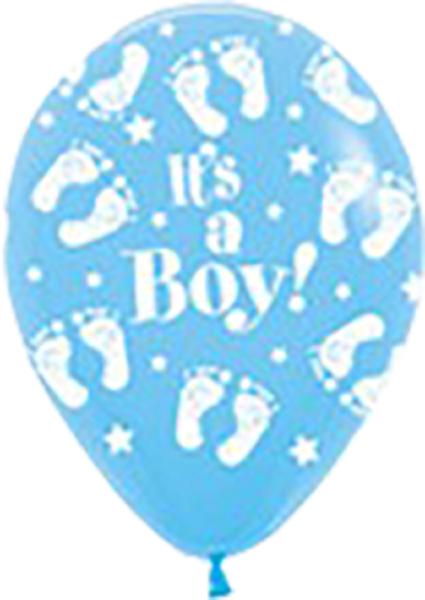 """It's A Boy Footprint 039 Light Blue 12,5cm 5"""" Latex Luftballons Sempertex"""