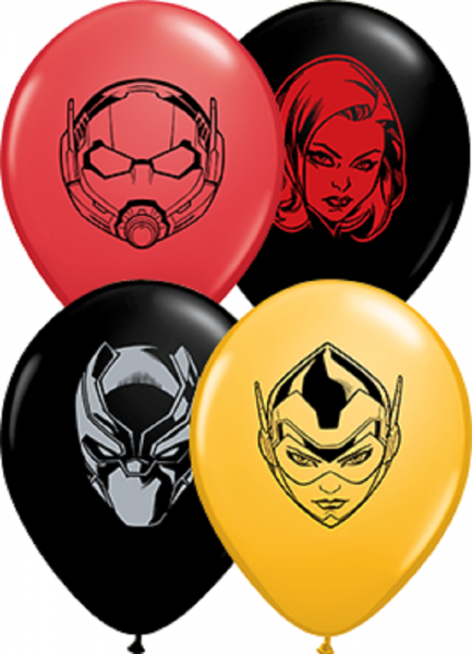 "Qualatex Marvel's Characters Faces Goldenrod, Red und Onyx Black Sortiment 12,5cm 5"" Latex Luftball"