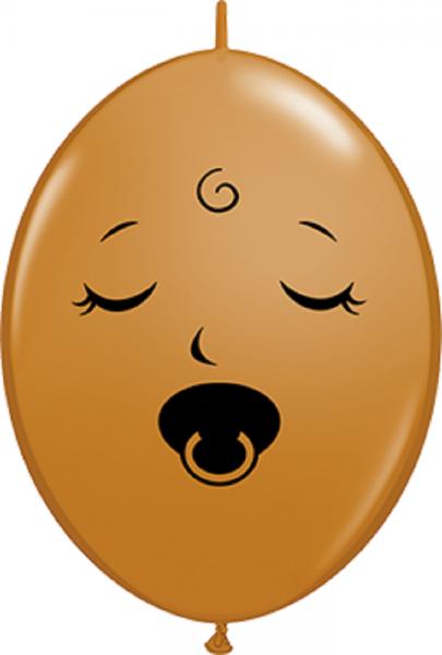 QuickLink Luftballons Sleeping Pacifier Baby Face Fashion Mocha Brown - 15cm