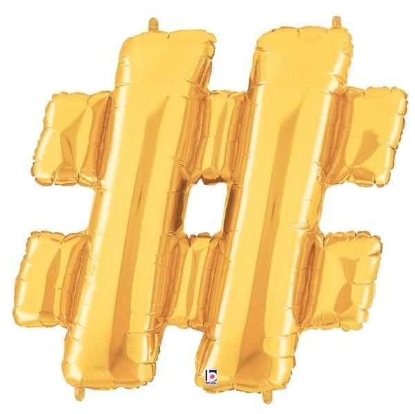 Hashtag # Gold Folienballon - 101cm