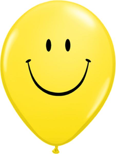 "Smile Face Standard Yellow Smiley 27,5cm 11"" Latex Luftballons Qualatex"