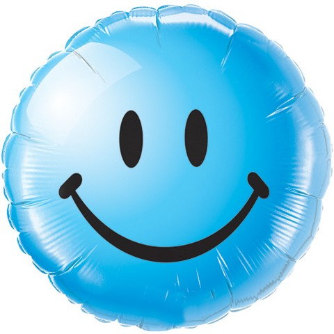 Smiley face blau Folienballon - 45cm