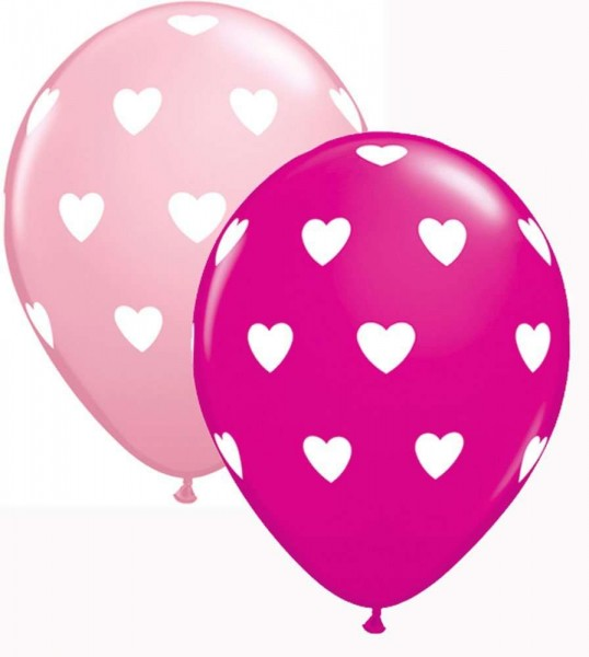 Big Hearts Qualatex Latex Ballons mit Herzen - 27,5cm