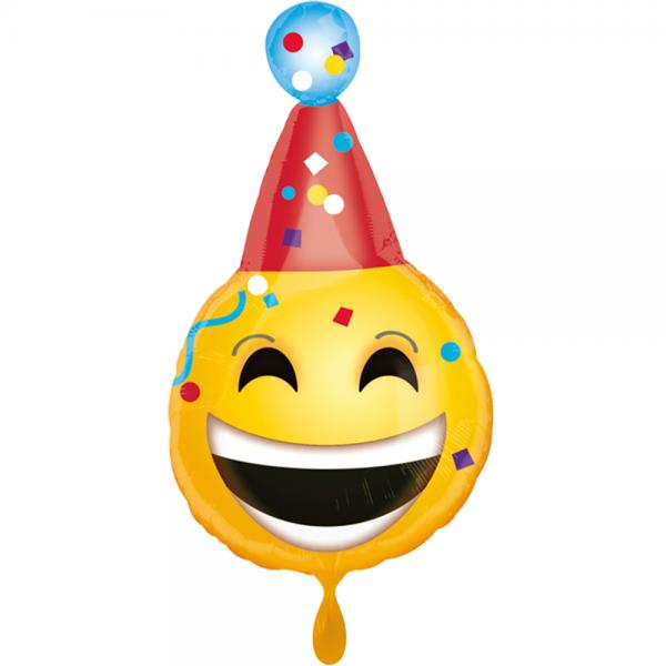 Emoji mit Hut Geburtstag Folienballon - 50cm 19''