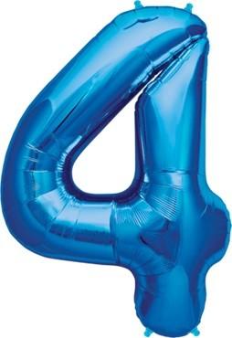 North Star Folienballon Zahl 4 (blau) - 86cm