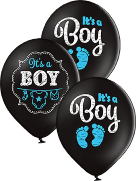 "It´s a Boy Pastel Black 30cm 12"" Latex Luftballons Belbal"