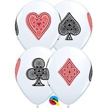 "Card Suits Sortiment Standard White Spielkarten 27,5cm 11"" Qualatex Latex Luftballons"