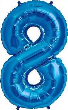 North Star Folienballon Zahl 8 (blau) - 86cm