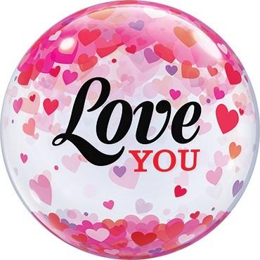 """Qualatex Bubble Love You Confetti Hearts Valentinstag 22"""" 56cm Luftballon"""