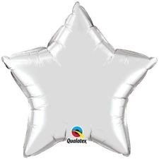 Stern silber metallic Folienballon - 50cm - Qualatex