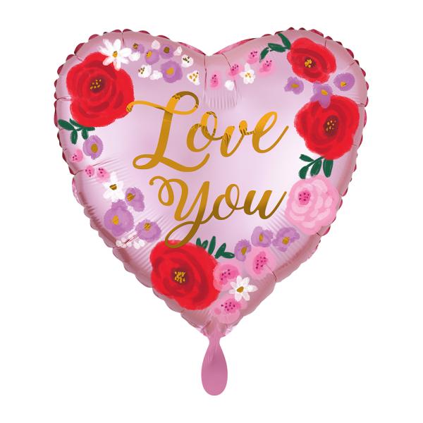 Love you Satin Painted Floral Folienballon - 45cm 18''