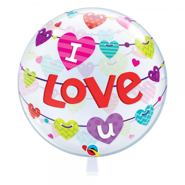 "Qualatex Bubble I Love U Banner Hearts 22"" 56cm Luftballons"