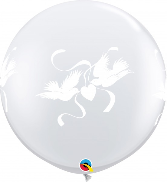 Riesenluftballon Love Doves Crystal Diamond Clear (Transparent) 90cm 36""