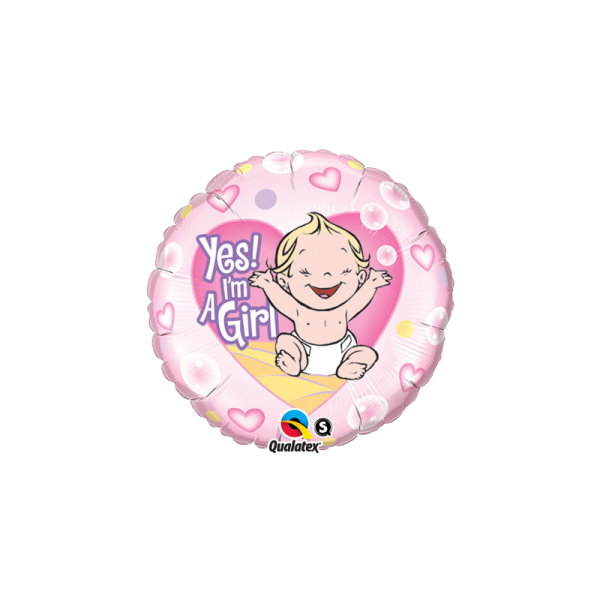Baby Girl - yes i `am a Girl Folienballon - 46cm