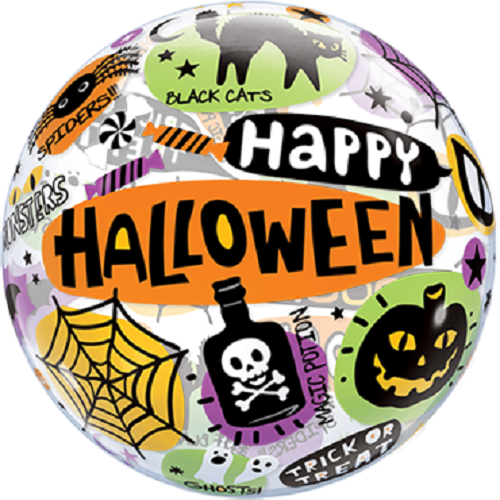 Qualatex Bubble Luftballons Halloween Messages and Icons 55cm