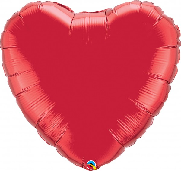 Folienballon Herz Ruby Red (Rot) - 90cm