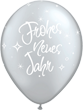 "Frohes neues Jahr Silvester silber 27,5cm 11"" Latex Luftballons Qualatex"