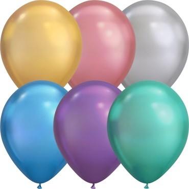 "Qualatex Chrome Sortiment (bunt gemischt) 27,5cm 11"" Latex Luftballons"