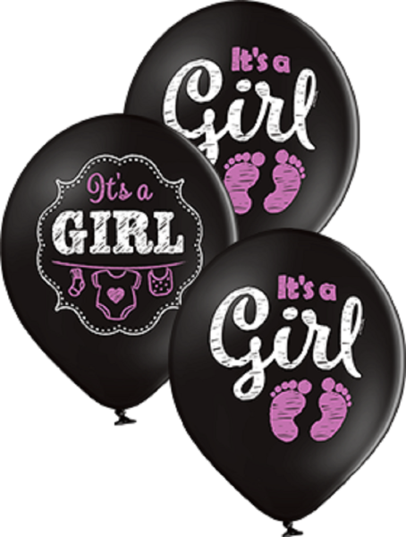 "It´s a Girl Pastel Black Schwarz 30cm 12"" Latex Luftballons Belbal"