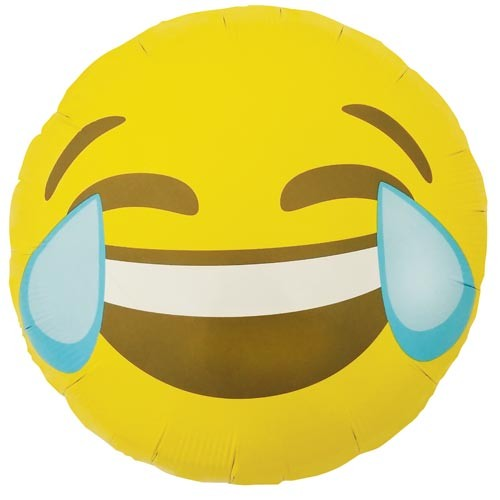 Smiley Face gelb Emoji Crying laughing Folienballon - 45cm