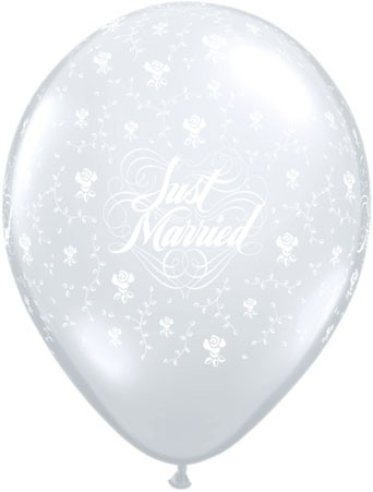 "Just Married Flowers Diamomd Clear 27,5cm 11"" Latex Luftballons Qualatex"