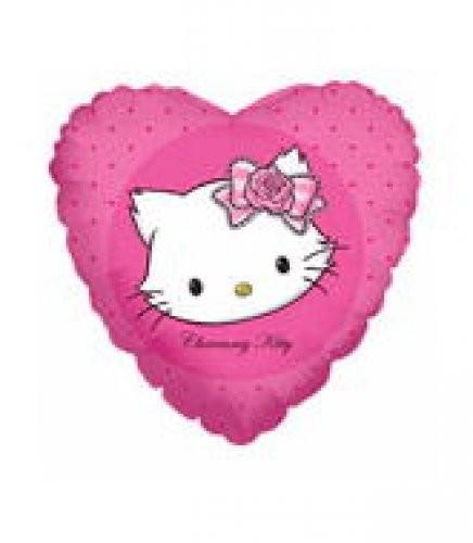 Weiße Katze Herz Folienballon - 45cm
