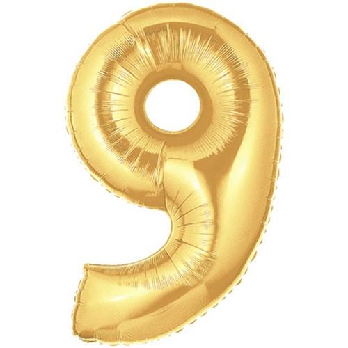 Große Folienballon Zahl 9 (gold) - 101cm
