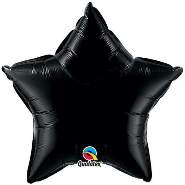 Stern schwarz Folienballon - 50cm - Qualatex