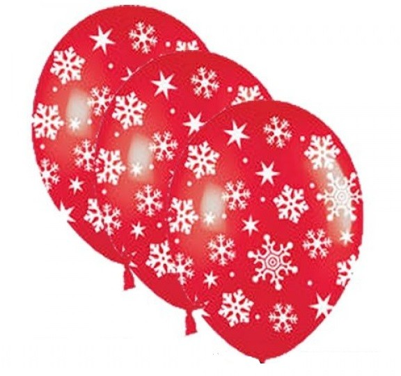 Snowflakes and Sparkles rot Latexballon - 27,5cm