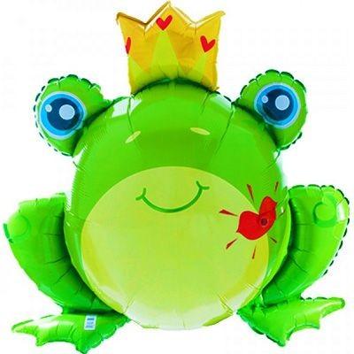 Frosch mit Krone und Kuss - Mund Folienballon - 89cm