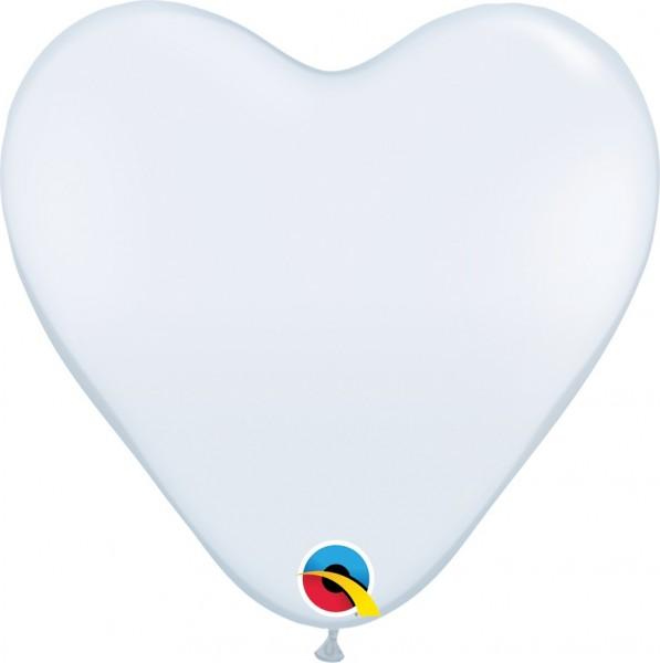 BallonHerz Standard White (Weiß) Latexluftballons - 37,5cm
