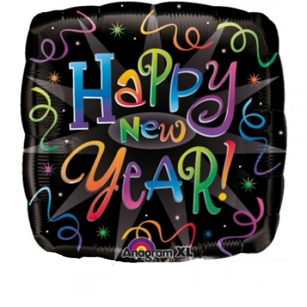 Happy New Year Folienballon quadratisch - 45cm