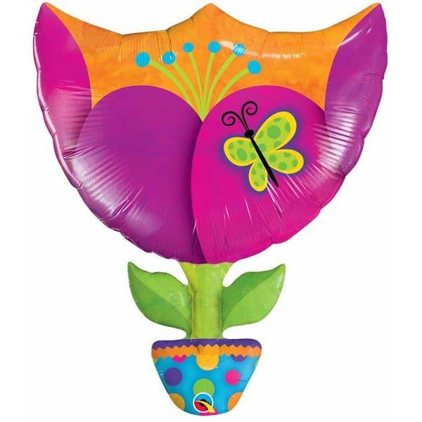 Blume im Topf ' Fantastische Tulpe' Folienballon