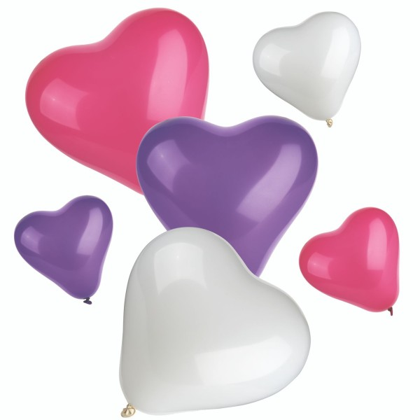 "Qualatex Herz Sortiment Weiß, Lila, Rose 27,5cm 11"" Latex Luftballons"