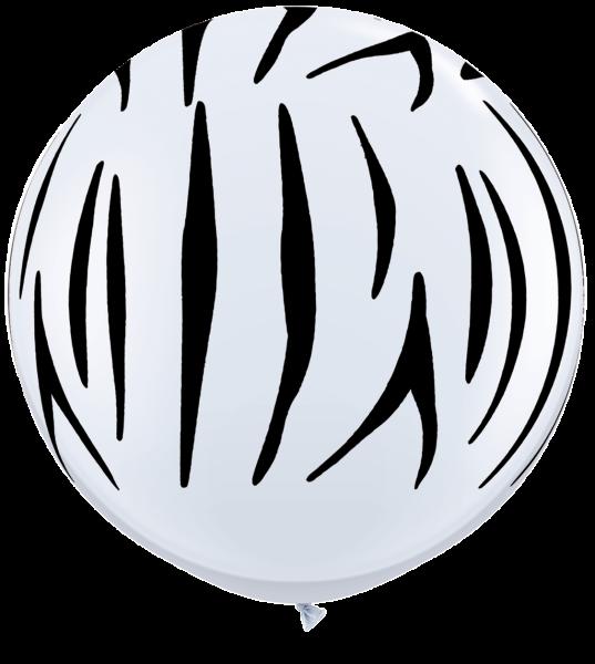 Riesenluftballon Zebra Streifen schwarz & weiß 90 cm