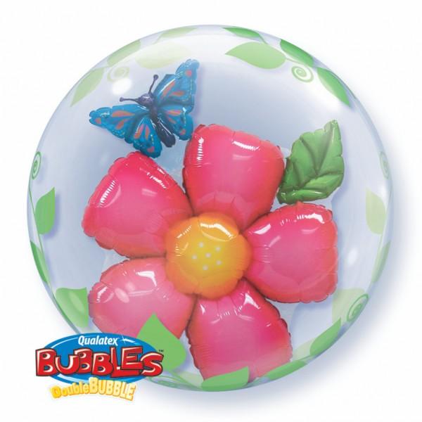 """Qualatex Double Bubble Blume Schmetterling 24"""" 61cm Luftballon"""
