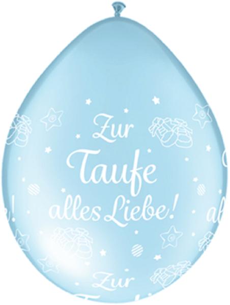 "Qualatex Zur Taufe alles Liebe! Pearl Light Blue Neck Up 12,5cm 5"" Latex Luftballon"