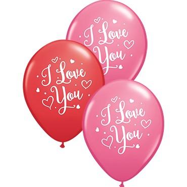 "I Love you Hearts Script 27,5cm 11"" Latex Luftballons Qualatex"