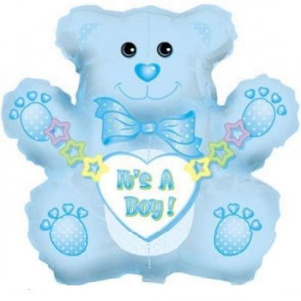 Teddybär Boy blau Folienballon - 81cm