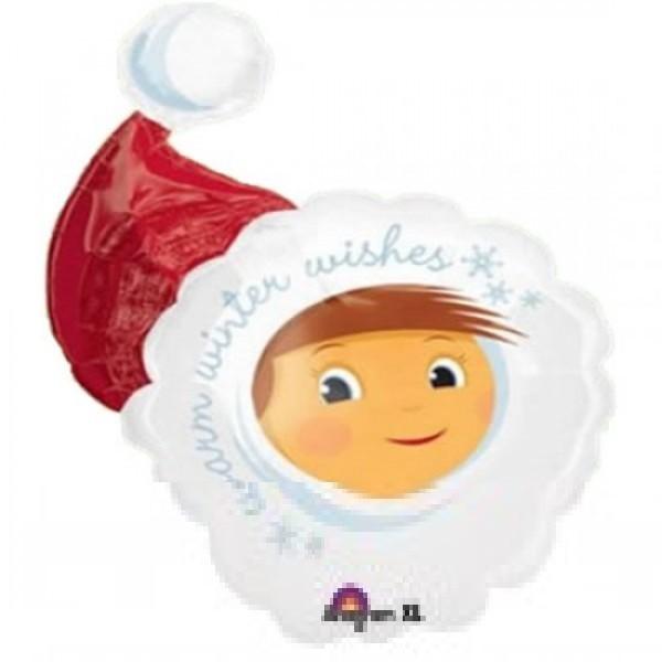 Mädchen mit Weihnachtsmütze Folienballon - ca 71 cm