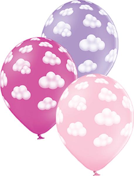 """Fluffy Clouds Girl Sortiment 30cm 12"""" Latex Luftballons Belbal"""