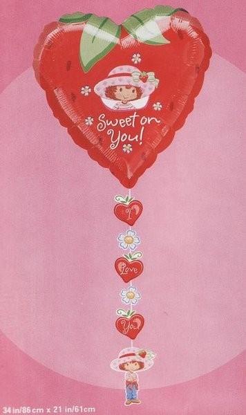 Emily Erdbeere Strawberry Herz Folienballon mit Kette