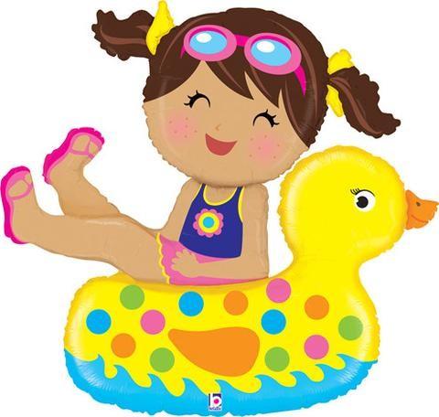 Mädchen im Schwimmring mit Ente Folienballon - 104cm