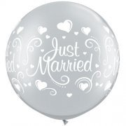 Riesenluftballon Just married (Hochzeit Herzen) diamond clear 90cm 36""