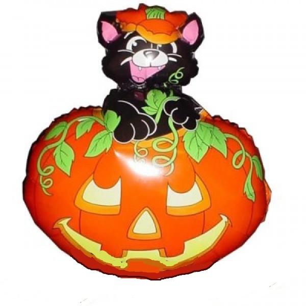 Katze im Kürbis Halloween Folienballon.- 70cm