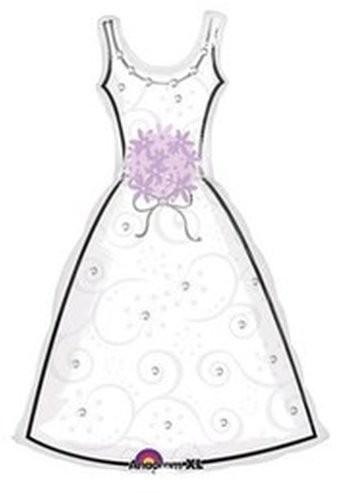 Hochzeit Brautkleid Folienballon - 90cm
