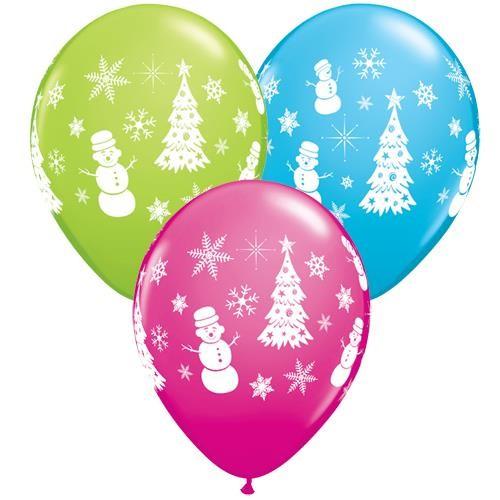 """Frohe Weihnachten Schneemann, Tannenbaum und Schneeflocke 27,5 cm 11"""" Latex Luftballons Qualatex"""
